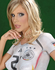 Sexy blonde babe Tiffany Rousso getting naked for Germany